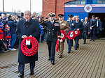 11.11.18 Rangers v Motherwell: John Greig leads the wreath laying party as the club and armed forces mark the 100th year of tha Armistice on Remembrance Sunday