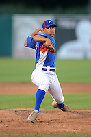 Pitcher Justus Sheffield (27) of Tullahoma High School in Tullahoma, Tennessee playing for the Chicago Cubs scout team during the East Coast Pro Showcase on July 31, 2013 at NBT Bank Stadium in Syracuse, New York.  (Mike Janes/Four Seam Images)