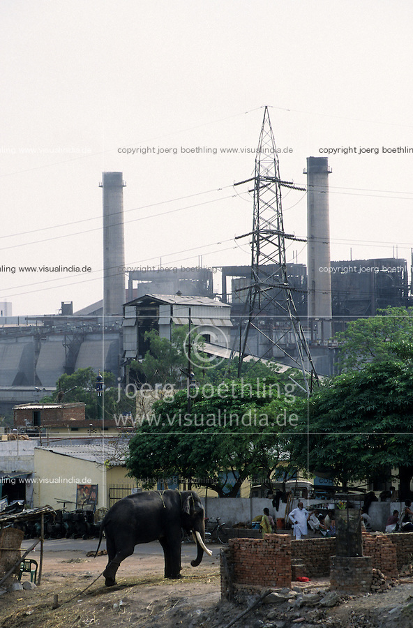 INDIA New Delhi, indian elephant in front of power station at Yamuna river / INDIEN Megacity Neu Dehli, Elefant vor Kraftwerk am Jamuna Fluss