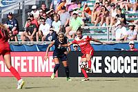 Cary, North Carolina  - Saturday August 19, 2017: Havana Solaun and Jaelene Hinkle during a regular season National Women's Soccer League (NWSL) match between the North Carolina Courage and the Washington Spirit at Sahlen's Stadium at WakeMed Soccer Park.