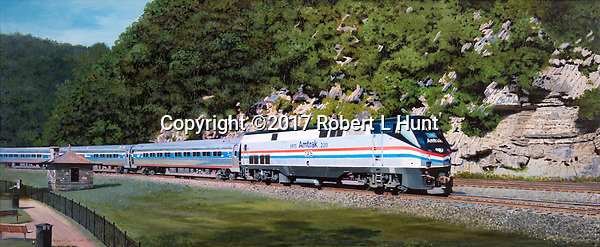 Amtrak passenger train on the Horseshoe Curve near Altoona, PA, wearing patriotic colors. Oil on canvas, 15x36.