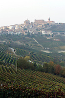 Una veduta del paese di La Morra, con i vigneti in proo piano.<br /> View of the village of La Morra, Piedmont, with vineyards foreground.<br /> UPDATE IMAGES PRESS/Riccardo De Luca