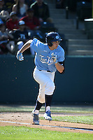 Cody Roberts (11) of the North Carolina Tar Heels runs to first base during a game against the UCLA Bruins at Jackie Robinson Stadium on February 20, 2016 in Los Angeles, California. UCLA defeated North Carolina, 6-5. (Larry Goren/Four Seam Images)