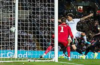 Leeds United's Helder Costa scores his side's second goal <br /> <br /> Photographer Alex Dodd/CameraSport<br /> <br /> The Carabao Cup Second Round- Leeds United v Stoke City - Tuesday 27th August 2019  - Elland Road - Leeds<br />  <br /> World Copyright © 2019 CameraSport. All rights reserved. 43 Linden Ave. Countesthorpe. Leicester. England. LE8 5PG - Tel: +44 (0) 116 277 4147 - admin@camerasport.com - www.camerasport.com