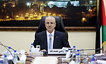 Palestinian Prime Minister, Rami Hamdallah, chairs a meeting of the Council of Ministers, in the West Bank city of Ramallah, on October 17, 2017. Photo by Prime Minister Office