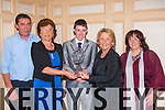 Champion<br /> ------------<br /> Jack Kennedy,Dingle(centre)receives his trophy for the best jockey in the Southern region at the Horse and pony racing annual social last Saturday night in the Riverisland hotel, Castleisland,L-R Billy Kennedy,Mary mcGillicuddy(organiser)Jack Kennedy,Hanna Willis and Lis Kennedy