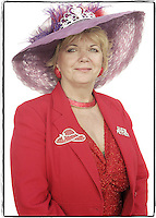 Slug: WK/Red Hatters.Date: 10-04-2004.Location:   Pink Bicycle Tea Room. Occoquan, VA.Photographer:  Mark Finkenstaedt FTWP.Caption:  Donna Lane Queen Mum of the Femme Fatales of Occoquan.