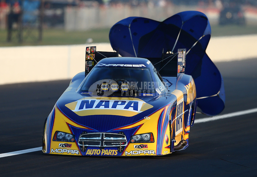 Aug. 30, 2013; Clermont, IN, USA: NHRA funny car driver Ron Capps during qualifying for the US Nationals at Lucas Oil Raceway. Mandatory Credit: Mark J. Rebilas-