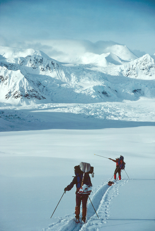 Alaska, Denali National Park, back country skiers traverse the Don Sheldon Amphitheater, Ruth Glacier, Alaska Range, Alaska, USA, North America, released, .