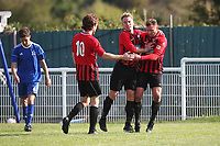 Saffron Walden celebrate their third goal scored by Gavin Cockman (R) during Redbridge vs Saffron Walden Town, Essex Senior League Football at Oakside Stadium on 7th September 2019