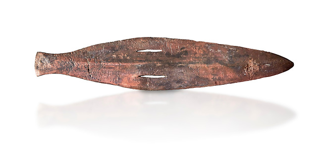 Cycladic bronze spearhead.  Early Cycladic II (2800-2300 BC) , Amorgos. National Archaeological Museum Athens.  White background.