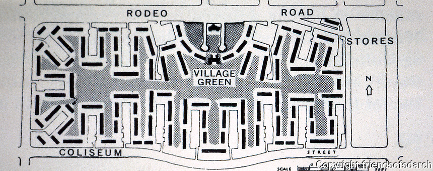 Clarence S. Stein: Baldwin Hills Village, Plan. 1940-41. Photo '78.