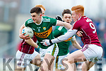 Séan O'Shea Kerry in action against Peter Cooke Galway in the Allianz Football League Division 1 Round 4 match between Kerry and Galway at Austin Stack Park, Tralee, Co. Kerry.