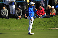 Celine Boutier (EUR) on the 17th green during Day 3 Singles at the Solheim Cup 2019, Gleneagles Golf CLub, Auchterarder, Perthshire, Scotland. 15/09/2019.<br /> Picture Thos Caffrey / Golffile.ie<br /> <br /> All photo usage must carry mandatory copyright credit (© Golffile | Thos Caffrey)