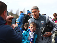 29th February 2020; Cardiff City Stadium, Cardiff, Glamorgan, Wales; English Championship Football, Cardiff City versus Brentford; Neil Etheridge of Cardiff City has a photo with a Cardiff City fan outside the stadium as players arrive
