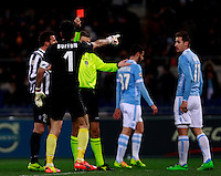 Calcio, Serie A: Lazio vs Juventus. Roma, stadio Olimpico, 25 gennaio 2014.<br /> Juventus goalkeeper Gianluigi Buffon, left, receives a red card by referee Davide Massa after fouling Lazio forward Miroslav Klose, of Germany, right, during the Italian Serie A football match between Lazio and Juventus at Rome's Olympic stadium, 25 January 2014.<br /> UPDATE IMAGES PRESS/Isabella Bonotto