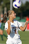 7 November 2007: Virginia's Sarah Senty. The University of Virginia tied the University of Miami 0-0 at the Disney Wide World of Sports complex in Orlando, FL in an Atlantic Coast Conference tournament quarterfinal match.  Virginia advanced to the semifinals on penalty kicks, 4-2.