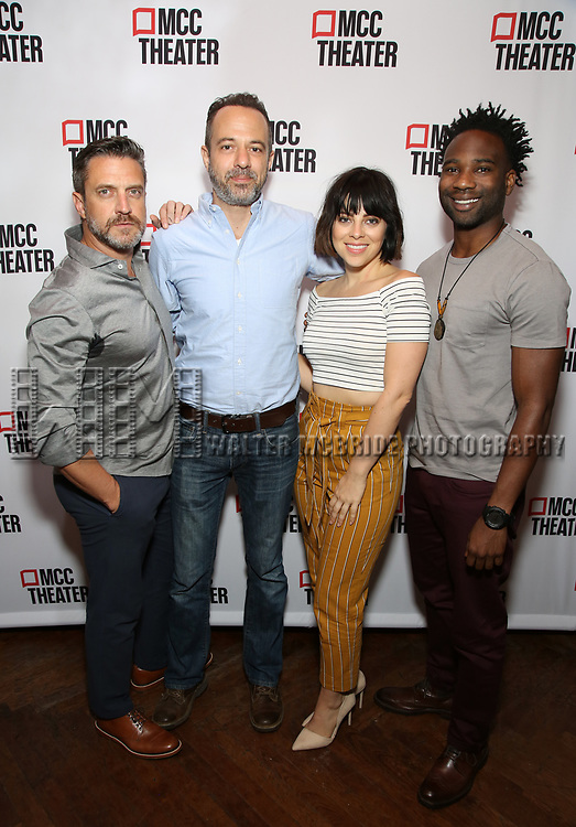 "Raúl Esparza, David Mason, Krysta Rodriguez, W. Tré Davis attend the photo call for the cast and creative team of MCC Theater's New York Premiere of ""Seared"" on September 11, 2019 at Artesia Wine Bar in New York City."