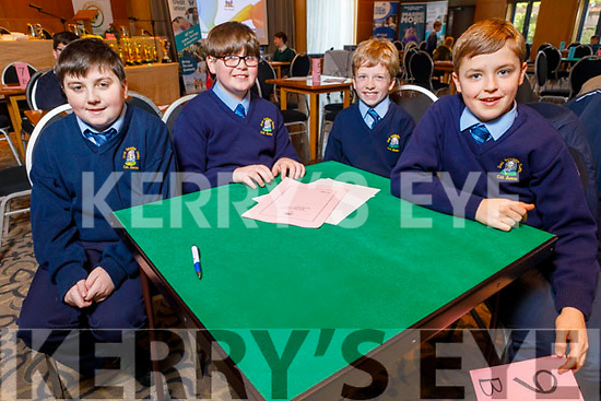 St Oliver's NS Killarney students Colm O'Brien, Mark O'Shea, Conor Regan and Kevin Looney at the Regional finals of the Chapter 23 Credit Union quiz in the Ballyroe Heights Hotel on Sunday.