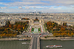 France, Paris.  <br /> Just a little blue sky adds so much! If I would have cropped out the blue sky, it would look like a cloudy day and be far less appealing. Also, waiting to include the tour boats adds a nice accent to the Seine River.<br /> View from the Eiffel Tower.