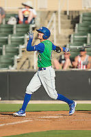 Logan Davis (6) of the Lexington Legends follows through on his swing against the Kannapolis Intimidators at CMC-Northeast Stadium on May 25, 2015 in Kannapolis, North Carolina.  The Intimidators defeated the Legends 6-5.  (Brian Westerholt/Four Seam Images)