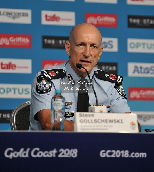 Steve Gollschewski (Deputy Commissioner, Queensland Police Service). Team Scotland press conference. Main press centre. Gold Coast 2018. Queensland. Australia. 04/04/2018. ~ MANDATORY CREDIT Garry Bowden/SIPPA - NO UNAUTHORISED USE - +44 7837 394578