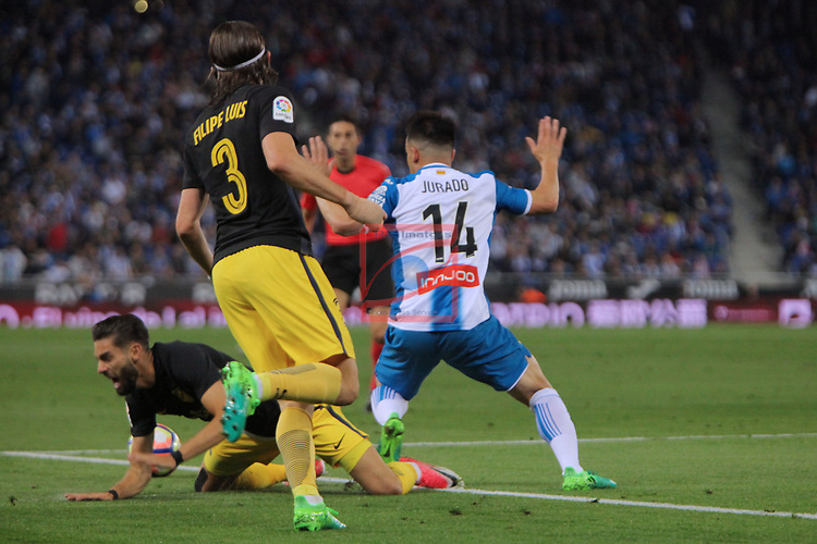 League Santander 2016/2017. Game: 33.<br /> RCD Espanyol vs Atletico de Madrid: 0-1.<br /> Carrasco, Jurado &amp; Filipe Luis.