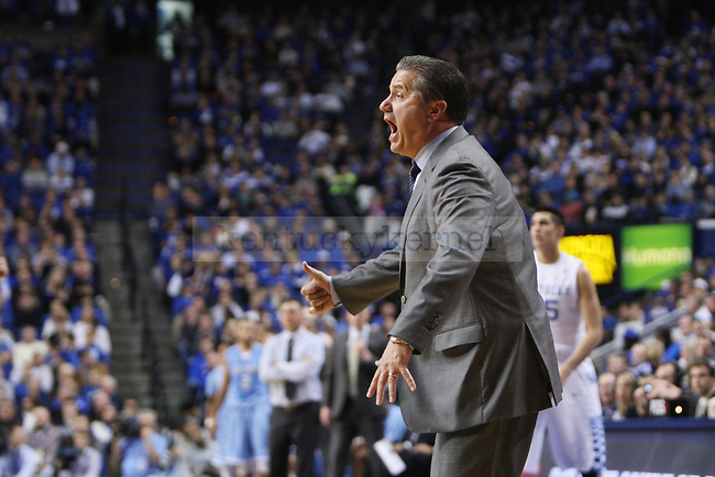 UK head coach John Calipari yells during UK vs. Coumbia at Rupp Arena in Lexington, Ky., on Friday, December 5,  2014. Photo by Emily Wuetcher | Staff