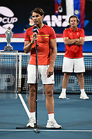 12th January 2020; Sydney Olympic Park Tennis Centre, Sydney, New South Wales, Australia; ATP Cup Australia, Sydney, Day 10; Serbia versus Spain; Rafael Nadal of Spain makes a speech after Team Spain finish runners up in the ATP Cup - Editorial Use