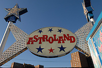Visitors to Coney Island celebrate the end of summer on Labor Day, Monday, September 1, 2008. The amusement park Astroland is currently in a lease dispute with the landlord, Thor Equities and is threatening to shut it's rides for good on Thursday if the dispute is not settled. (© Frances M. Roberts)
