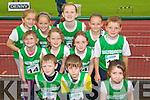 The Ballydonoghue Team at the Kerry community games athlethics finals at an Riocht, Castleisland on Saturday..Front from left: James Mulvhill, Risteard Power, Ava Barrett.Middle Row, Aine Donnegan, Aoife Donnegan, Iseult Long, Robert Foley..Back Row: Shauna Barry, Caoimhe Barry, Orla Cullen, Shauna Mulvhill,