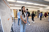 "Cheyenne Orozco presents, ""Evaluation of a Hypervalent Iodine-Mediated Oxidative Rearrangement of Phenols""<br /> Mentor: Raul Navarro, Chemistry<br /> Occidental College's Undergraduate Research Center hosts their annual Summer Undergraduate Research Conference on July 31, 2019. Student researchers presented their work as either oral or poster presentations at this final conference. The program lasts 10 weeks and involves independent research in all departments.<br /> (Photo by Marc Campos, Occidental College Photographer)"