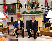 United States President Donald J. Trump meets with Prime Minister Viktor Orban of Hungary in the Oval Office of the White House in Washington, DC on Monday, May 13, 2019.  The two leaders will meet for about an hour.<br /> Credit: Chris Kleponis / Pool via CNP