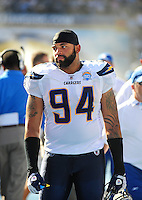 Sep. 20, 2009; San Diego, CA, USA; San Diego Chargers linebacker Jyles Tucker against the Baltimore Ravens at Qualcomm Stadium in San Diego. Baltimore defeated San Diego 31-26. Mandatory Credit: Mark J. Rebilas-