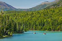 Rafting at the mouth of the Kenai River, Kenai Lake, Kenai Peninsula, Alaska