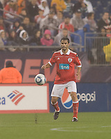 SL Benfica defender Luis Filipe (22) prepares to trap the ball. SL Benfica  defeated New England Revolution, 4-0, at Gillette Stadium on May 19, 2010.