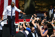 Philadelphia, PA - September 13, 2016: U.S. President Barack Obama acknowledges supporters as he enters the Eakins Oval park in Philadelphia, Pennsylvania, September 13, 2016, during a campaign stop in support of Hillary Clinton for president.  (Photo by Don Baxter/Media Images International)
