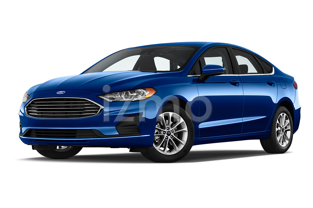 Stock pictures of low aggressive front three quarter view of 2019 Ford Fusion SE 4 Door Sedan Low Aggressive