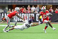Indianapolis, IN - December 1, 2018: Ohio State Buckeyes wide receiver Parris Campbell (21) avoids Northwestern Wildcats defensive back Alonzo Mayo (10) during the Big Ten championship game between Northwestern  and Ohio State at Lucas Oil Stadium in Indianapolis, IN.   (Photo by Elliott Brown/Media Images International)