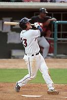 Lancaster JetHawks third baseman Jonathan Meyer #23 bats against the Bakersfield Blaze at Clear Channel Stadium on July 24, 2011 in Lancaster,California. (Larry Goren/Four Seam Images)