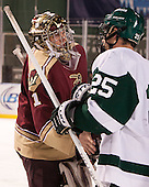 Chris Czarnota (Norwich - 1), Bill Seligman (Babson - 25) - The Norwich University Cadets defeated the Babson College Beavers 1-0 on Thursday, January 9, 2014, at Fenway Park in Boston, Massachusetts.