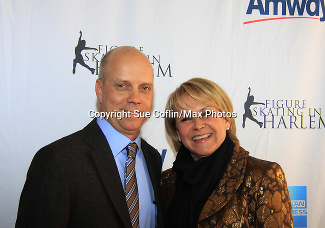 Olympian Figure Skater Scott Hamilton with American Sportscaster Andrea Joyce and tonight's honoree   - The 2013 Skating with the Stars- a benefit gala for Figure Skating in Harlem on April 8, 2013 at Trump Wollman Rink, New York City, New York. (Photo by Sue Coflin/Max Photos)