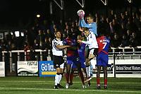 Dagenham goalkeeper, Elliot Justham, makes a save during Bromley vs Dagenham & Redbridge, Vanarama National League Football at the H2T Group Stadium on 24th November 2018
