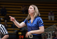 California head coach Lindsay Gottlieb calls a play during the game against Arizona State at Haas Pavilion in Berkeley, California on February 16th, 2014.  California defeated Arizona State, 74-63.