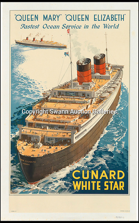 BNPS.co.uk (01202 558833)<br /> Pic: SwannGalleries/BNPS<br /> <br /> ***Please Use Full Byline***<br /> <br /> Cunard White Star Queen Mary/Queen Elizabeth - 1947 - &pound;1500<br /> <br /> Beautiful posters from the halcyon days of travel up for auction.<br /> <br /> Scarce vintage travel posters promoting holidays across the globe in the 1920's and 30's are tipped to sell for over &pound;200,000 .<br /> <br /> The fine collection of 200 works of art that hark back to the halcyon days of train and boat travel have been brought together for sale.<br /> <br /> The posters were used to advertise dream holiday destinations in far-flung places such as the US and Australia and to celebrate the luxurious ways of getting to them.<br /> <br /> Most of the advertising posters date back to the 1930s and are Art Deco in style and they are all from the original print-run.