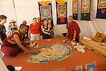 Washington DC; USA: Bhutanese monks make mandala as part of the Smithsonian's annual Folklife Festival in 2008.    .Photo copyright Lee Foster Photo # 18-washdc82276