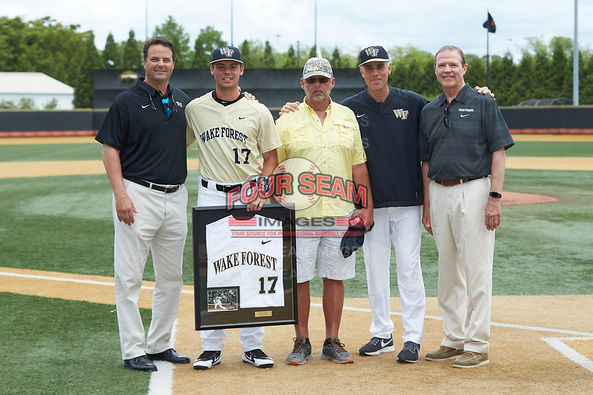 Bruce Steel (17) of the Wake Forest Demon Deacons is honored on Senior Day prior to the game against the Virginia Cavaliers at David F. Couch Ballpark on May 19, 2018 in  Winston-Salem, North Carolina. The Demon Deacons defeated the Cavaliers 18-12. (Brian Westerholt/Four Seam Images)