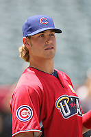 Brett Jackson of the Chicago Cubs organization participates in the Futures Game at Angel Stadium in Anaheim,California on July 11, 2010. Photo by Larry Goren/Four Seam Images