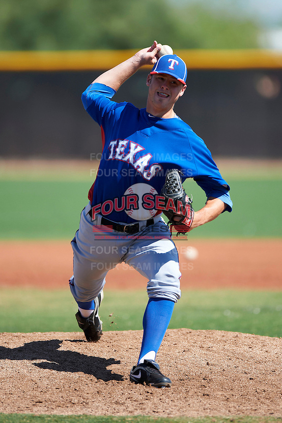 Texas Rangers minor league pitcher Mike Zouzalik #66 during an instructional league game against the Kansas City Royals at the Surprise Stadium Minor League Complex on October 10, 2012 in Surprise, Arizona.  (Mike Janes/Four Seam Images)