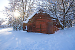 Idaho, Dalton Gardens. An rustic and faded red barn sits among snow covered trees in a winter landscape as the sun sets behind the trees.